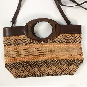 Fossil Woven Crossbody boho Handle Bag